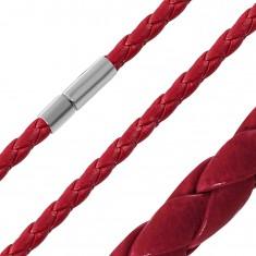 Piros műbőr nyaklánc - összefont vékony sávok