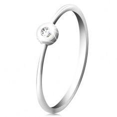 Gyűrű 14K fehér aranyból - csillogó gyémánt fényes foglalatban, keskeny szárak