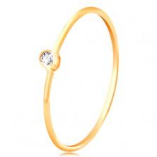 585 arany gyémánt gyűrű - csillogó tiszta briliáns fényes foglalatban, keskeny szárak