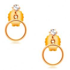 14K sárga arany fülbevaló - átlátszó kerek cirkónia és vékony karika