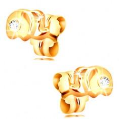 14K arany fülbevaló - kis elefánt átlátszó cirkóniával