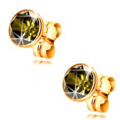 14K arany fülbevaló - kerek olivazöld cirkónia foglalatban, 5 mm