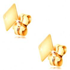 Stekkeres 14K arany fülbevaló - fényes lapos rombusz