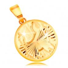 Sárga 14K arany medál - kör forma fényes sugaras bevágásokkal - BIKA