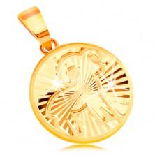 Sárga 14K arany medál - kör forma fényes sugaras bevágásokkal - KOS