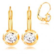 585 arany fülbevaló - kerek fényes foglalat, csiszolt átlátszó cirkónia, 4,5 mm
