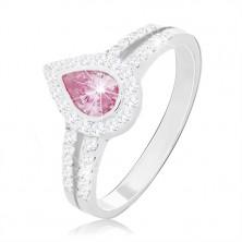 925 ezüst eljegyzési gyűrű, rózsaszín csepp forma két cirkóniás vonal között