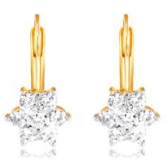 585 arany fülbevaló - csillogó virág kerek átlátszó cirkóniákból