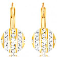 14K arany fülbevaló - félgömb fehér és sárga arany sávokkal, átlátszó cirkóniák