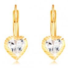 14K sárga arany fülbevaló - szív bevágásokkal és középen cirkóniával