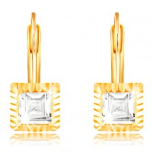 14K sárga arany fülbevaló - négyzet alakú foglalat bevágásokkal, csiszolt átlátszó cirkónia, 5 mm