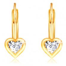 14K sárga arany fülbevaló - átlátszó szív alakú cirkónia fényes szegéllyel