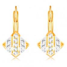 14K arany fülbevaló - rombusz fehér és sárga arany sávokkal, átlátszó cirkóniák