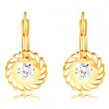 14K sárga arany fülbevaló - virág könnycsepp formájú kivágásokkal és átlátszó cirkóniával