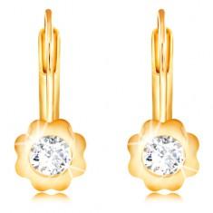 14K arany fülbevaló - virág sima szirmokkal és cirkóniával