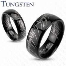 Karikagyűrű wolfrámból fekete színben - Gyűrűk ura motívum, 6 mm