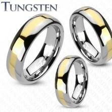 Wolfram karikagyűrű - arany sáv, 4 mm