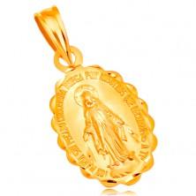 Medál sárga 18K aranyból - ovális Szűz Mária medalion, kétoldalú