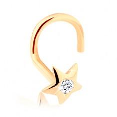 Gyémánt 585 arany orr piercing - fényes csillag gyémánttal