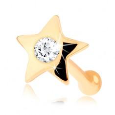 Egyenes 14K sárga arany orr piercing - fényes csillag gyémánttal
