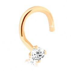 Gyémánt hajlított orr piercing, 14K sárga arany, átlátszó gyémánt, 2 mm