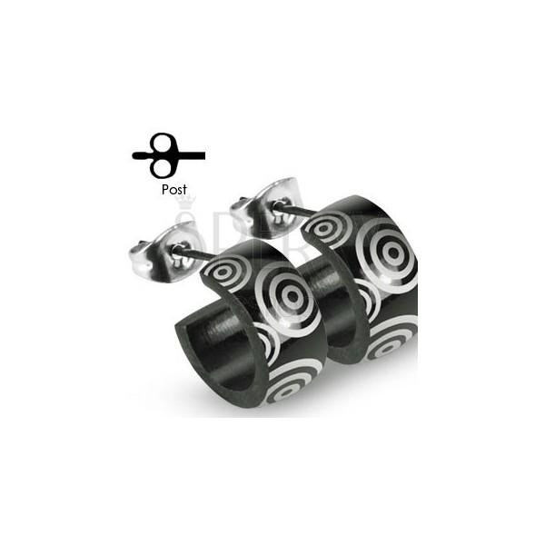 Fekete nemseacél fülbevaló - ezüst karikák