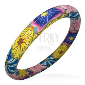 Fimo karkötő - Hippies színek, virágok
