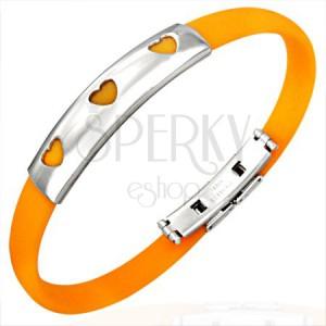 Gumi karkötő - 3 szívecske, narancsszínű