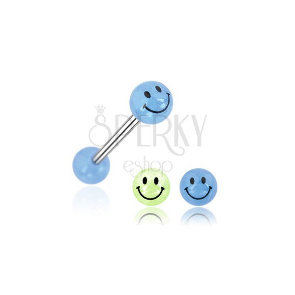 Nyelv piercing - mosolygós golyócska