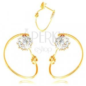 585 arany fülbevaló - keskeny karika, virág fehér aranyból és cirkóniákból, stekkerek