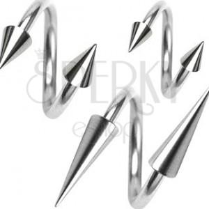 Piercing sebészeti acélból, spirál és tüske