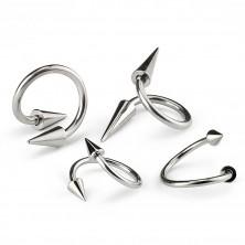 Piercing sebészeti acélból, spirál és tüske, 1,6 mm