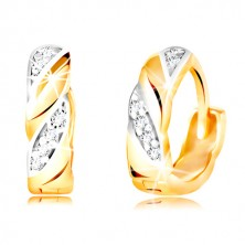 585 arany karika fülbevaló - kétszínű ferde vonalak, átlátszó cirkóniák