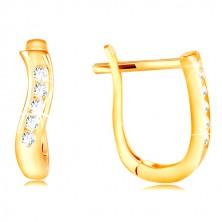 585 arany fülbevaló - függőleges hullám sárga aranyból, átlátszó cirkóniás sáv
