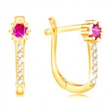 14K sárga arany fülbevaló - rózsaszín cirkóniás virág, átlátszó cirkóniás vonal