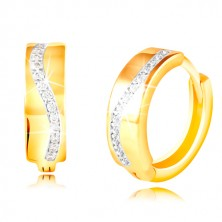 585 arany karika fülbevaló - csillogó hullám átlátszó cirkóniákból