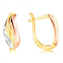 585 arany fülbevaló - csillogó levél cirkóniákkal, sárga, fehér és rózsaszín arany