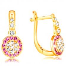 14K sárga arany fülbevaló - csillogó virág rózsaszín és átlátszó cirkóniákból
