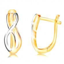 585 arany fülbevaló - keskeny összefont hullámok sárga és fehér aranyból