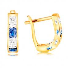14K sárga arany fülbevaló - ív kék és átlátszó cirkóniákból