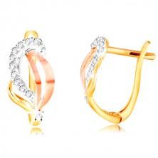 14K arany fülbevaló - háromszínű levél átlátszó cirkóniákkal díszítve