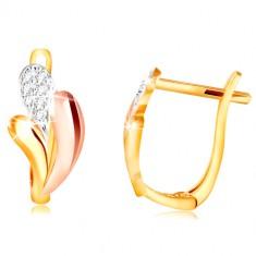 585 arany fülbevaló - fényes cseppek sárga, rózsaszín és fehér aranyból, cirkóniák
