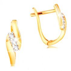 14K arany fülbevaló - átlátszó cirkóniás ferde sáv fényes sávok között