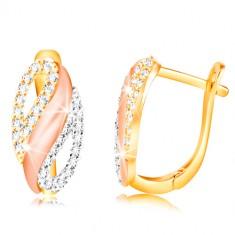 585 arany fülbevaló - ovális hullámmal és cirkóniás cseppekkel, sárga, fehér és rózaszín arany