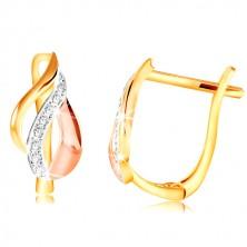 14K arany fülbevaló - levél három színű arany ívekből, átlátszó cirkóniák