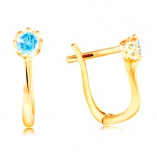 585 sárga arany fülbevaló - csillogó kék cirkónia díszes foglalatban