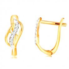 14K arany fülbevaló - kétszínű levél átlátszó cirkóniás vonallal