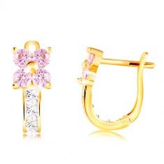 14K sárga arany fülbevaló - világos rózsaszín cirkóniás virág, átlátszó szár