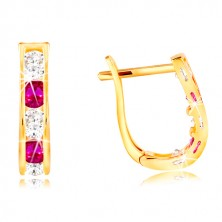 14K sárga arany fülbevaló - ív rózsaszín és átlátszó cirkóniákból