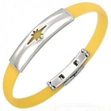 Citromsárga kaucsuk karkötő - csillag